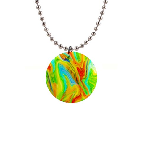 Happy Multicolor Painting Button Necklaces
