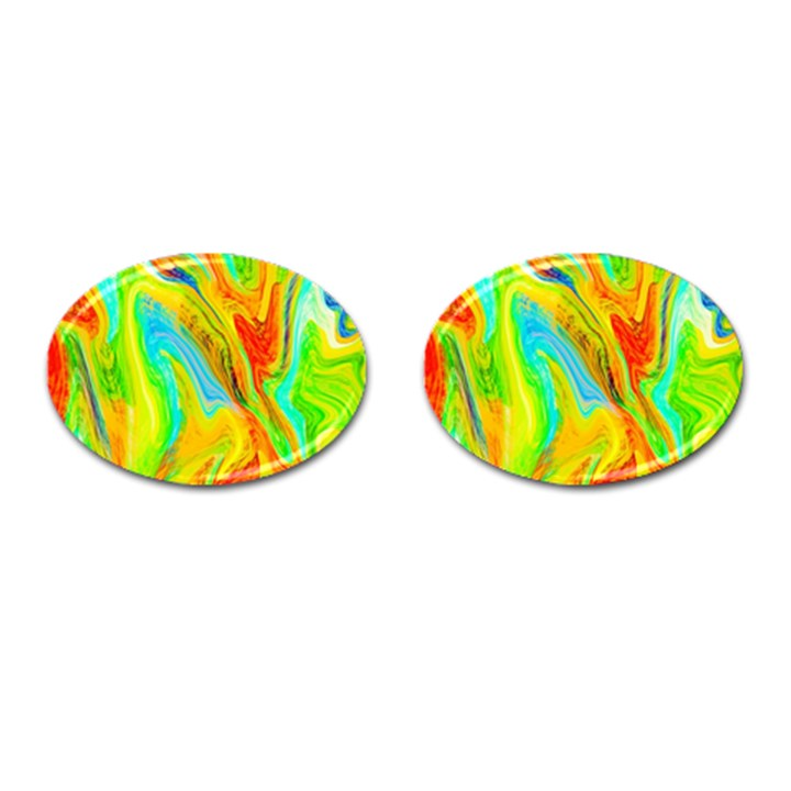 Happy Multicolor Painting Cufflinks (Oval)