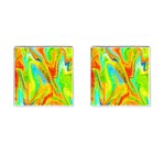 Happy Multicolor Painting Cufflinks (Square) Front