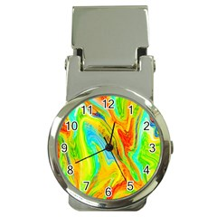 Happy Multicolor Painting Money Clip Watches
