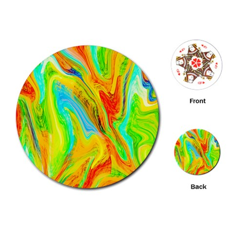 Happy Multicolor Painting Playing Cards (Round)