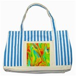 Happy Multicolor Painting Striped Blue Tote Bag Front