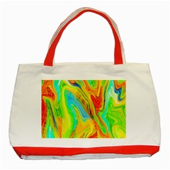 Happy Multicolor Painting Classic Tote Bag (red)