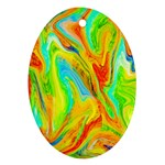 Happy Multicolor Painting Oval Ornament (Two Sides) Front