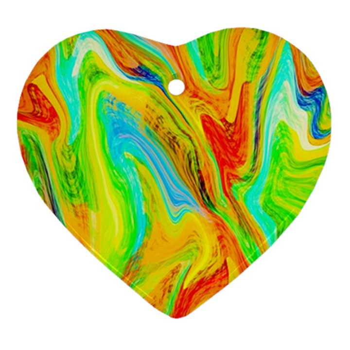 Happy Multicolor Painting Heart Ornament (2 Sides)
