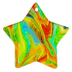 Happy Multicolor Painting Star Ornament (two Sides)