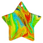 Happy Multicolor Painting Star Ornament (Two Sides)  Front