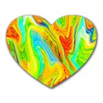 Happy Multicolor Painting Heart Mousepads Front