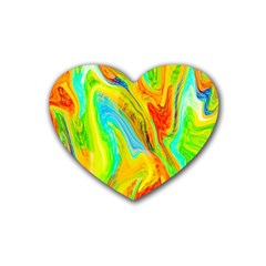 Happy Multicolor Painting Rubber Coaster (Heart)