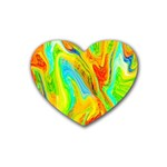 Happy Multicolor Painting Rubber Coaster (Heart)  Front