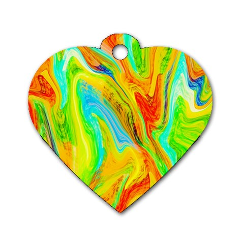 Happy Multicolor Painting Dog Tag Heart (One Side)