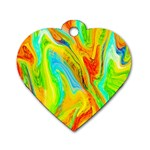 Happy Multicolor Painting Dog Tag Heart (One Side) Front