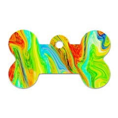 Happy Multicolor Painting Dog Tag Bone (One Side)