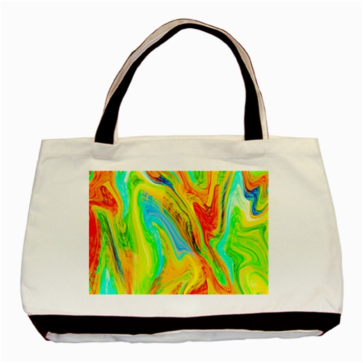 Happy Multicolor Painting Basic Tote Bag (Two Sides)