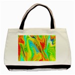 Happy Multicolor Painting Basic Tote Bag (Two Sides) Back