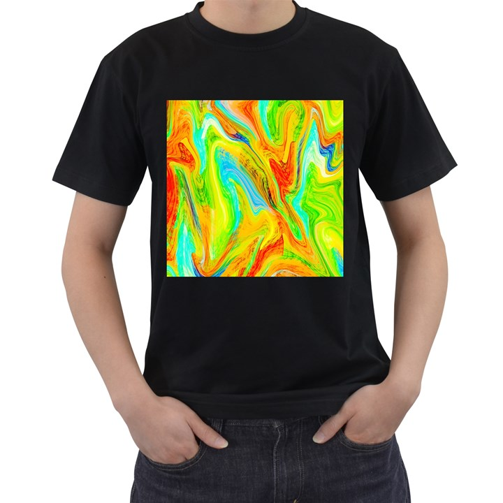 Happy Multicolor Painting Men s T-Shirt (Black)