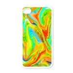 Happy Multicolor Painting Apple iPhone 4 Case (White) Front