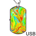 Happy Multicolor Painting Dog Tag USB Flash (One Side) Front