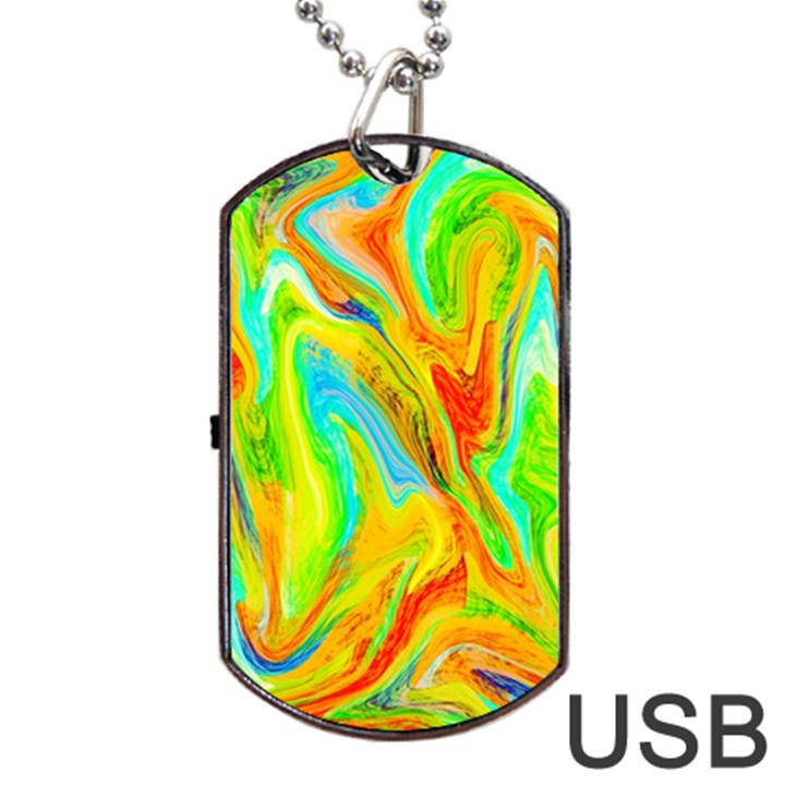 Happy Multicolor Painting Dog Tag USB Flash (Two Sides)