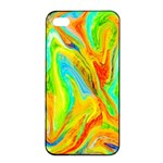 Happy Multicolor Painting Apple iPhone 4/4s Seamless Case (Black) Front