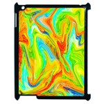 Happy Multicolor Painting Apple iPad 2 Case (Black) Front