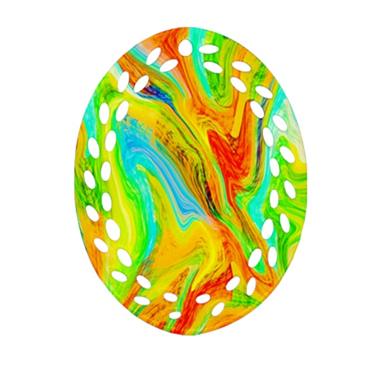 Happy Multicolor Painting Oval Filigree Ornament (2-Side)