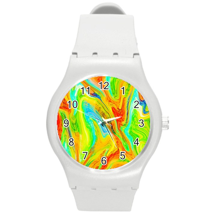 Happy Multicolor Painting Round Plastic Sport Watch (M)