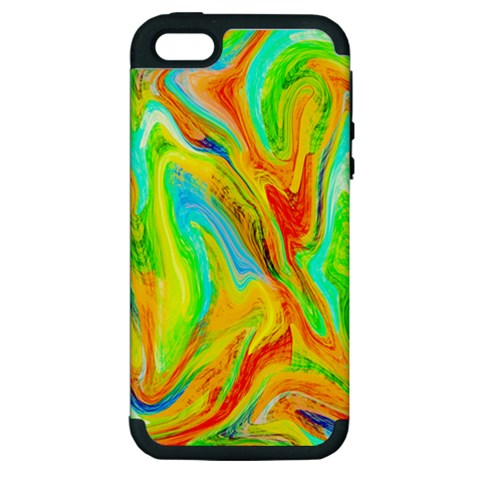 Happy Multicolor Painting Apple iPhone 5 Hardshell Case (PC+Silicone)