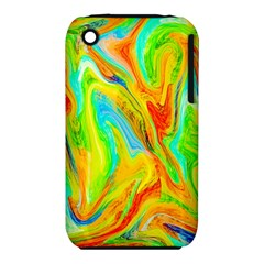 Happy Multicolor Painting Apple Iphone 3g/3gs Hardshell Case (pc+silicone)