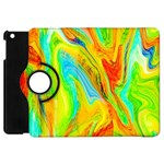 Happy Multicolor Painting Apple iPad Mini Flip 360 Case Front