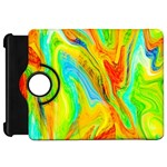 Happy Multicolor Painting Kindle Fire HD Flip 360 Case Front