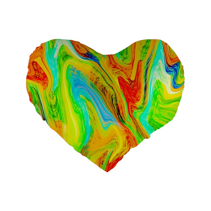 Happy Multicolor Painting Standard 16  Premium Heart Shape Cushions