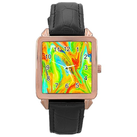 Happy Multicolor Painting Rose Gold Leather Watch