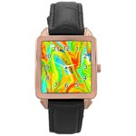 Happy Multicolor Painting Rose Gold Leather Watch  Front