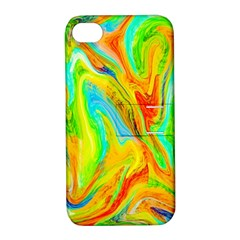 Happy Multicolor Painting Apple iPhone 4/4S Hardshell Case with Stand