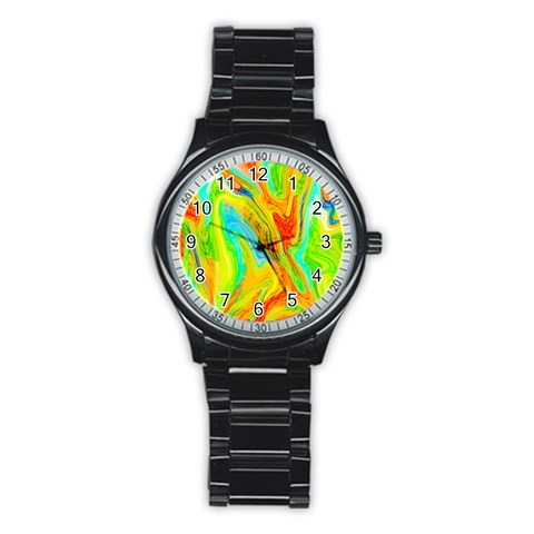 Happy Multicolor Painting Stainless Steel Round Watch