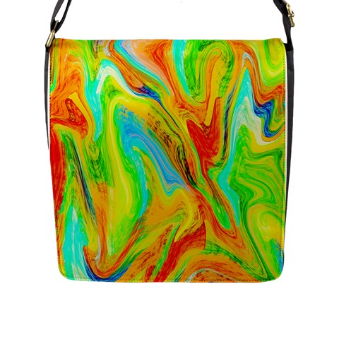 Happy Multicolor Painting Flap Messenger Bag (L)