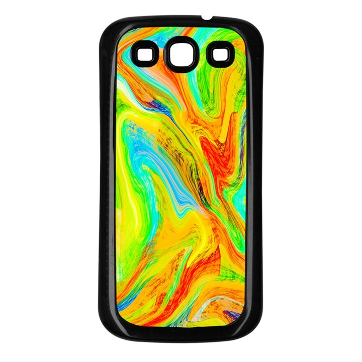 Happy Multicolor Painting Samsung Galaxy S3 Back Case (Black)