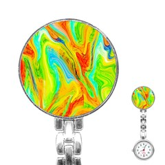 Happy Multicolor Painting Stainless Steel Nurses Watch