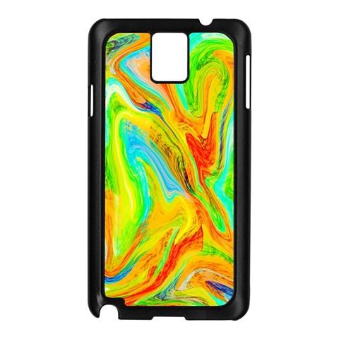 Happy Multicolor Painting Samsung Galaxy Note 3 N9005 Case (Black)