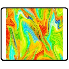Happy Multicolor Painting Double Sided Fleece Blanket (medium)