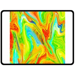 Happy Multicolor Painting Double Sided Fleece Blanket (large)