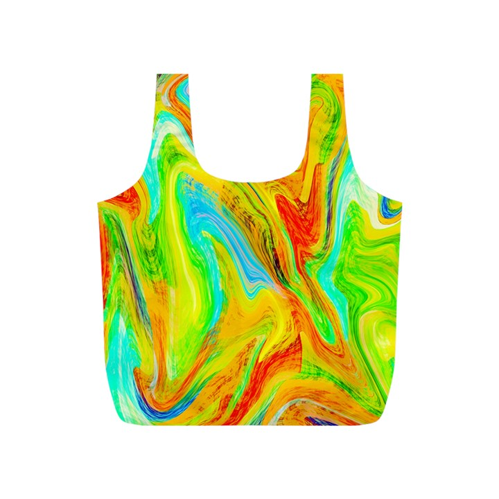 Happy Multicolor Painting Full Print Recycle Bags (S)
