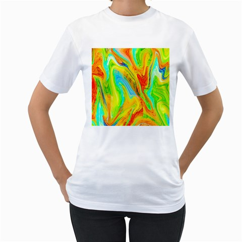 Happy Multicolor Painting Women s T-Shirt (White)