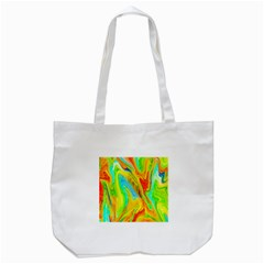 Happy Multicolor Painting Tote Bag (White)
