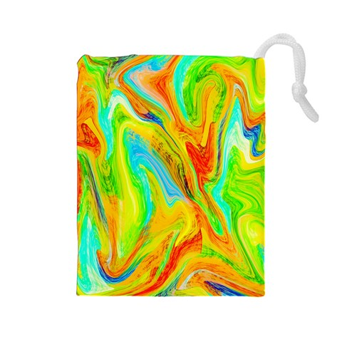 Happy Multicolor Painting Drawstring Pouches (Large)