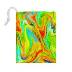 Happy Multicolor Painting Drawstring Pouches (Large)  Back