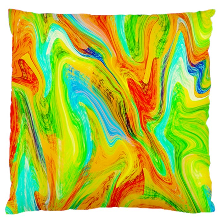 Happy Multicolor Painting Large Flano Cushion Case (One Side)