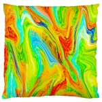 Happy Multicolor Painting Large Flano Cushion Case (Two Sides) Back