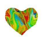 Happy Multicolor Painting Standard 16  Premium Flano Heart Shape Cushions Front